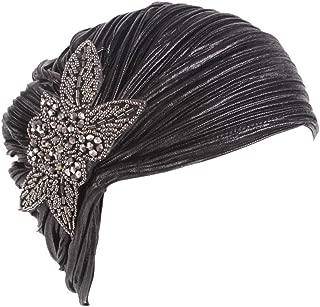 TWGONE Womens Turbans Retro Big Flowers Hat Brim Cap