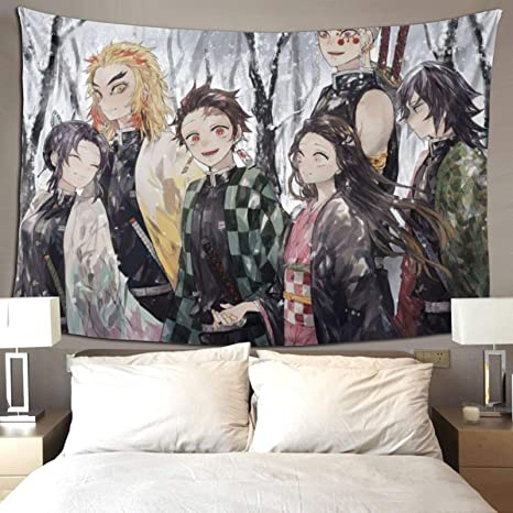 Amazon Com Unsuwu Demon Slayer Tapestry Wall Hangings Anime Tapestry Wall Art College Dorm Beach Throw Cartoon Tapestry Wall Decor Bedspread 60x70 Inches Everything Else