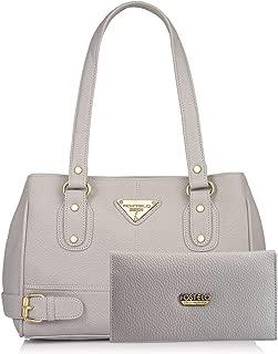 Fostelo Women's Combo Handbag & Clutch (Grey & Grey) (FSB-1315-FC-35)