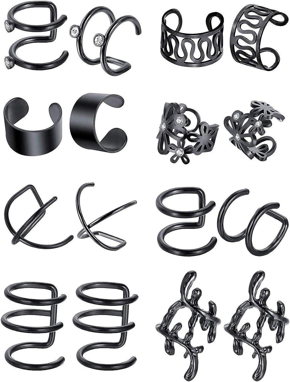 16pcs Stainless Steel Ear Cuff Earrings for Men Women Non Piercing Clip On Cartilage Earcuff Wrap Hypoallergenic Earrings Set