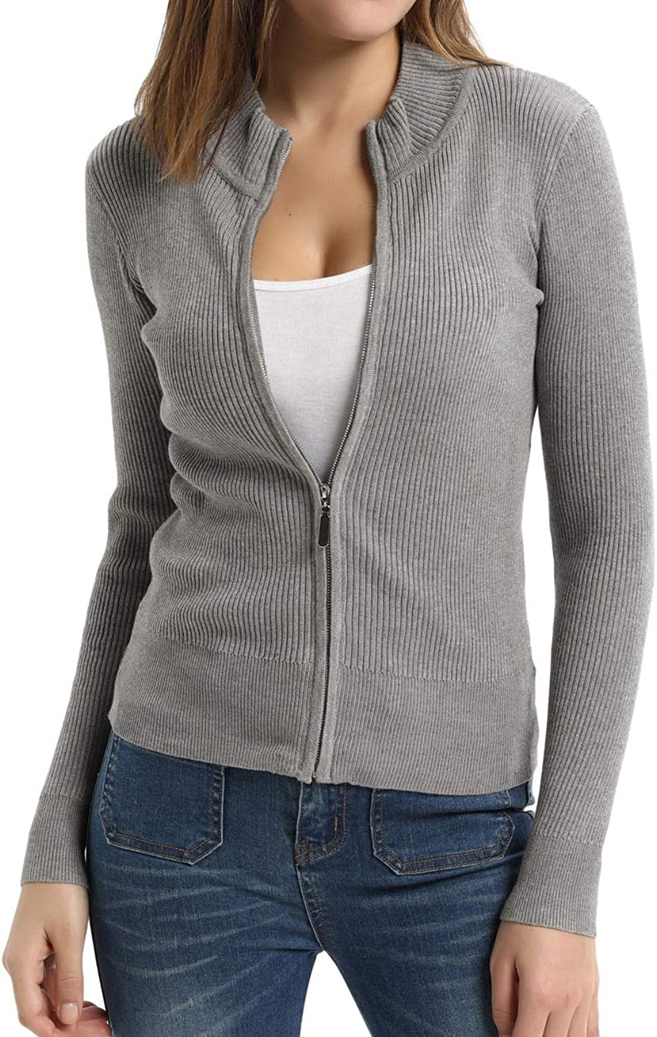 CURLBIUTY Women's Collar Casual Zip Cardigan Jacket Grey22 M