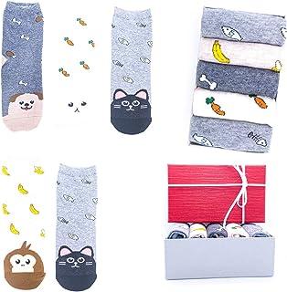 Llamabanana® 5 pares de calcetines para mujer, diseño de animales, gato, bulldog francés, hipster, zorro, vaca feliz, talla única, 95 % algodón, caja de regalo de lujo incluida