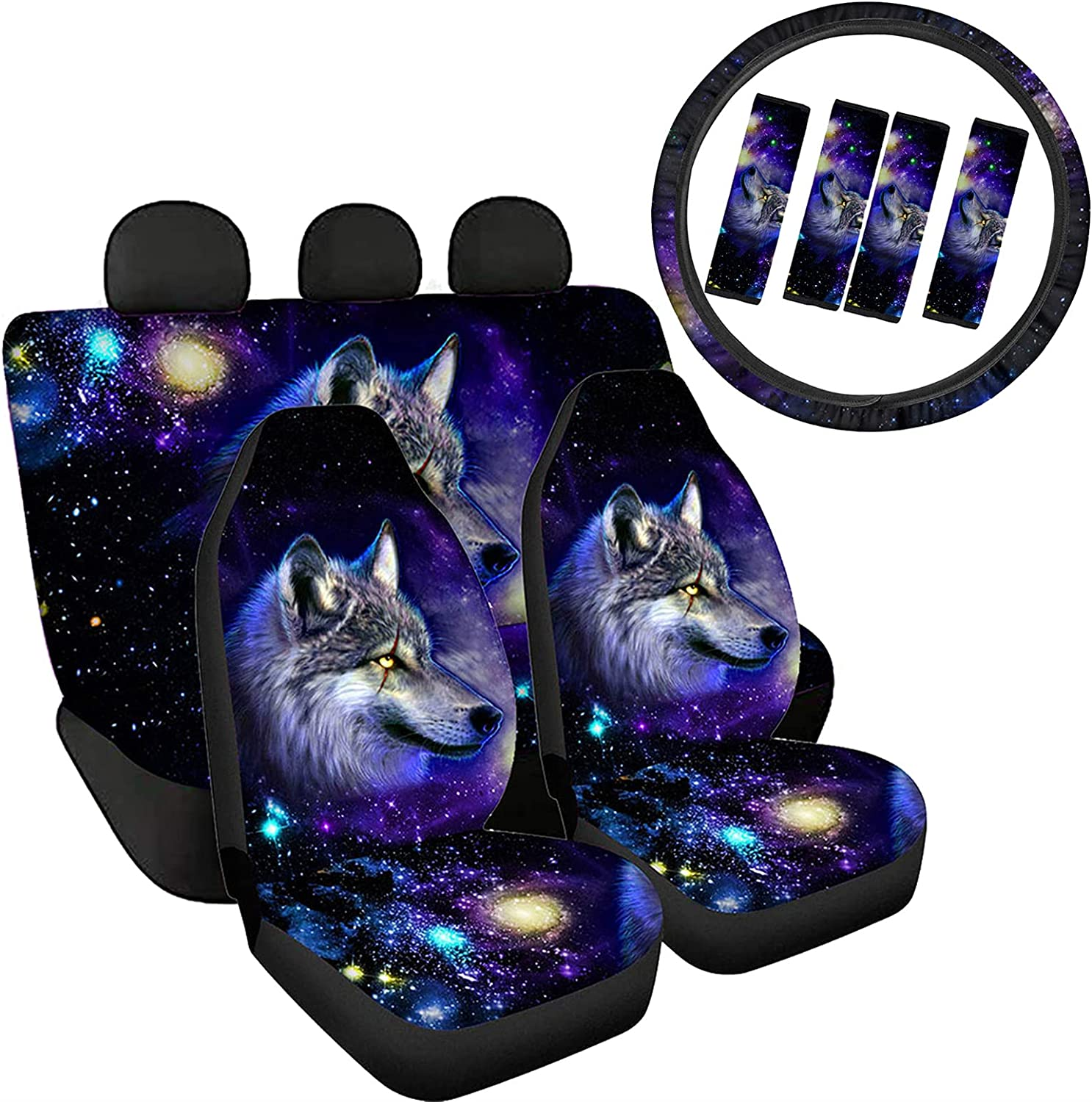 Yiekeluo Galaxy Space Wolf Car Front Max 61% OFF Rear and w Long-awaited Split Seat Cover
