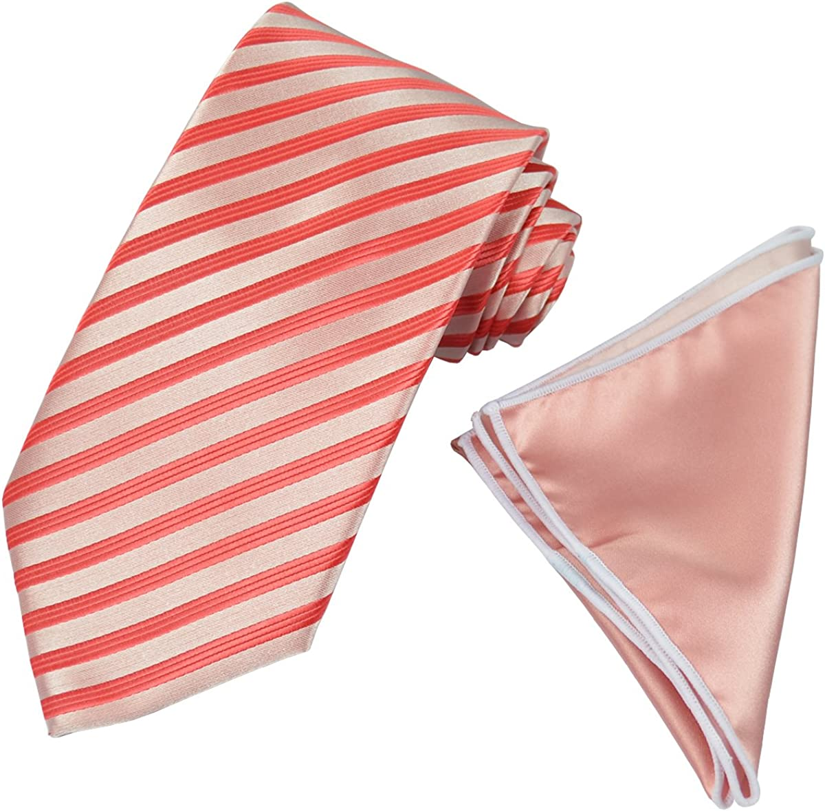 Red Striped Men's Tie with Contrast Pocket Square Set