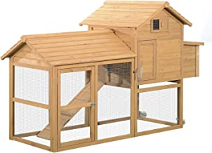 "PawHut 83"" Wooden Portable Backyard Chicken Coop With Fenced Run And Wheels"