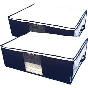 InikoLife 毛布 寝具 収納 ケース 2枚組 収納袋 上部ファスナー式 持ち手 クリア窓付 活性炭シート入 かさばる毛布や寝具をまとめてスッキリ 上部ファスナー式で出し入れしやすい 通気性に優れた不織布製 日本メーカー企画 (スッキリ藍色シリーズ)