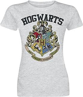 HARRY POTTER Hogwarts Crest Camiseta Mujer Gris/Melé, Corte Normal
