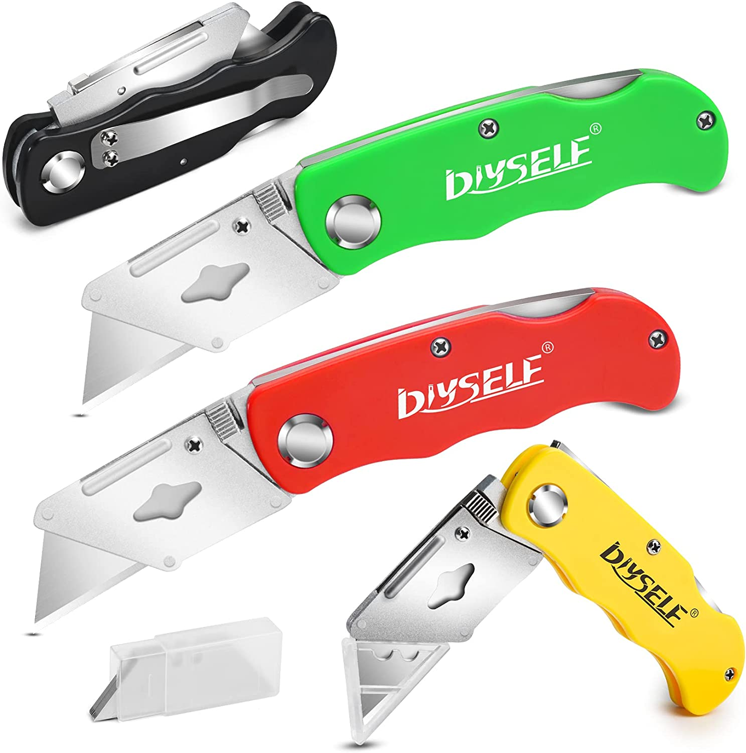 DIYSELF Knife 4 Pack Box Cutters Now on sale Very popular Raz 10 Blades With Cutter