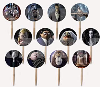 ADDAMS FAMILY Cupcake Picks Cake Toppers -12 pcs, Halloween Cousin IT, Wednesday, Morticia, Gomez, Thing Hand, Pugsley, Margaret
