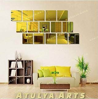 Atulya Arts 15 Pieces 6inch Square Acrylic Mirror Wall Sticker, 3D Self Adhesive Golden Mirror Wall Decor, Decorative Wall...