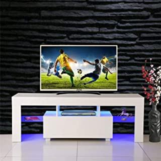 SSLine Modern White TV Stand with LED Light Wood Television Stand Media Storage Console Cabinet with Drawer and Shelves Entertainment Center Living Room Bedroom Furniture (for 52