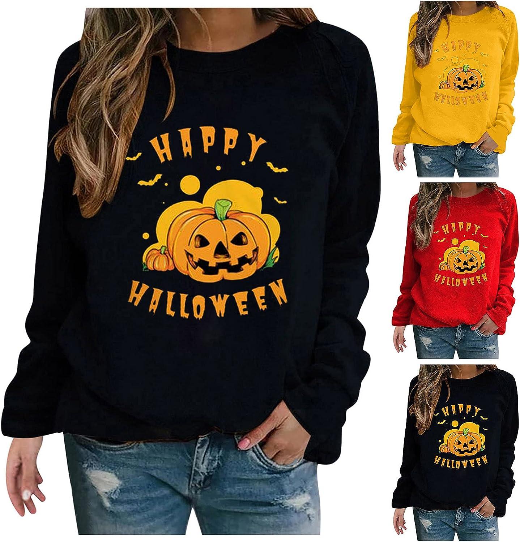 Fudule Halloween Shirts for Women Long Sleeve Pumpkin Face Graphic Tops Casual Crewneck Sweatshirt Loose Pullover Blouse