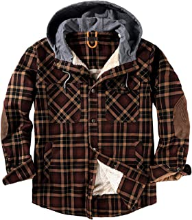 Sponsored Ad - NEWHALL Men's Classic Plaid Long Sleeve Buttons Camping Warm Lining with Thick Cotton Hooded Shirt Jacket