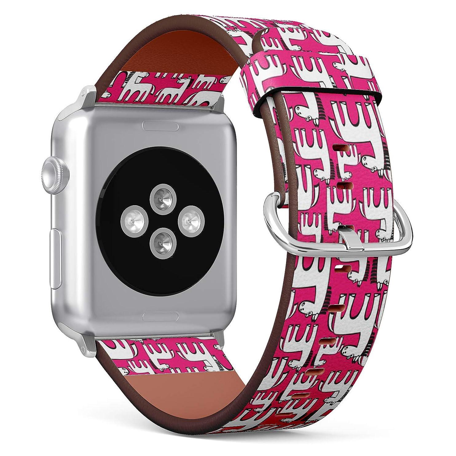 評価するコンバーチブルベックスコンパチブル Apple Watch iWatch 42mm & 44mm - 本革レザーストラップ, 向けのバンド交換ストラップです コンパチブル アップルウォッチ バンド (白い馬)