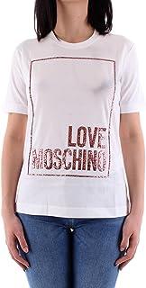 Love Moschino Cotton Jersey T-Shirt_3D Multicolor Glitter Confetti, Bianco, 46 Donna