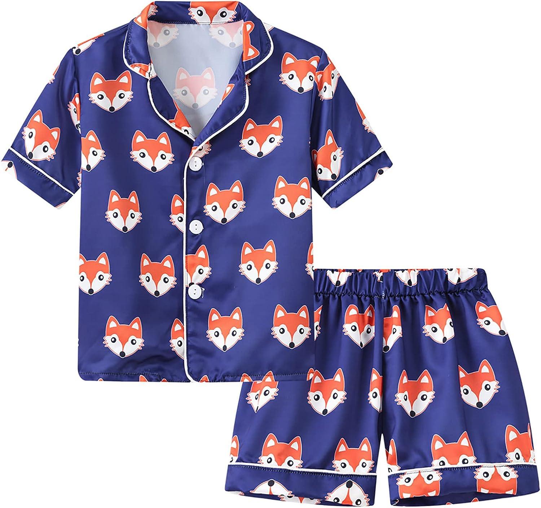 ACSUSS Popular popular Unisex Baby Boys Girls Satin But Sleeve Set Pajamas Short Seattle Mall