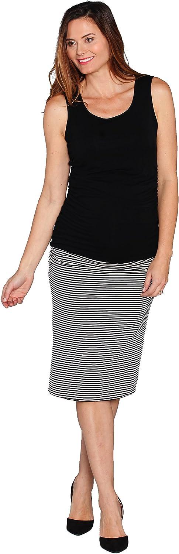 Angel Maternity Reversible Maternity Skirt  Black Skirt or Black and White Striped Skirt Stylish Fitted Maternity Skirt