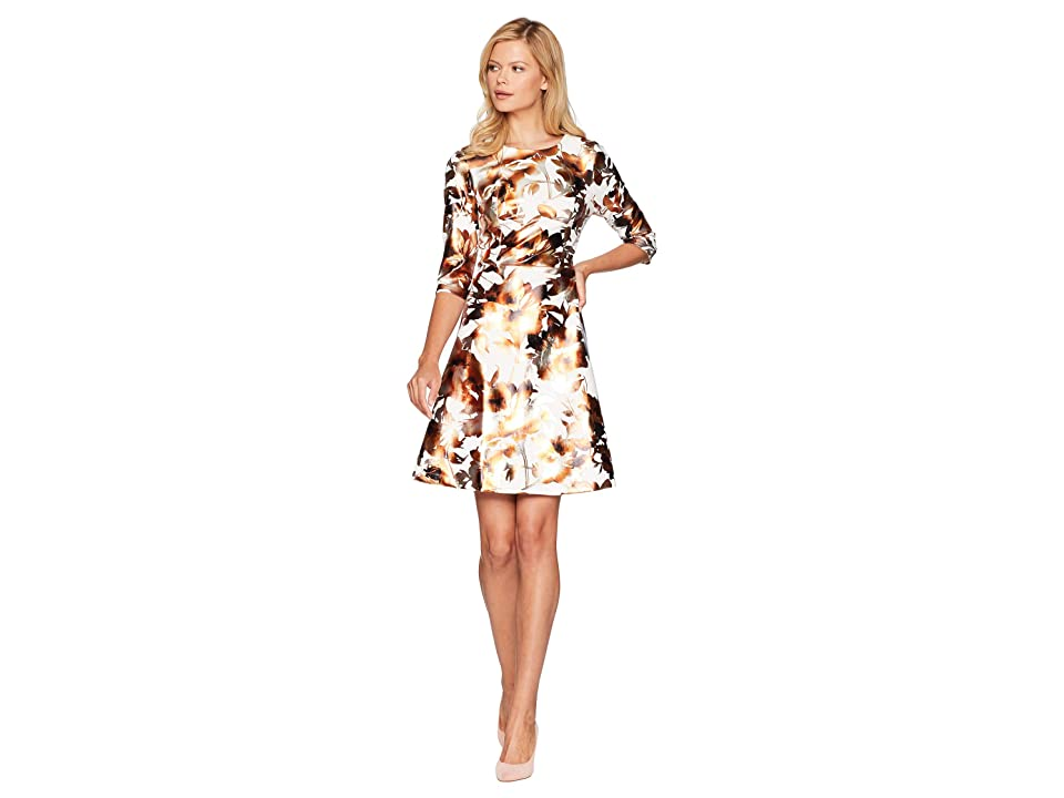 eci 3/4 Sleeve Foil Floral Printed Scuba Dress (Ivory/Gold) Women