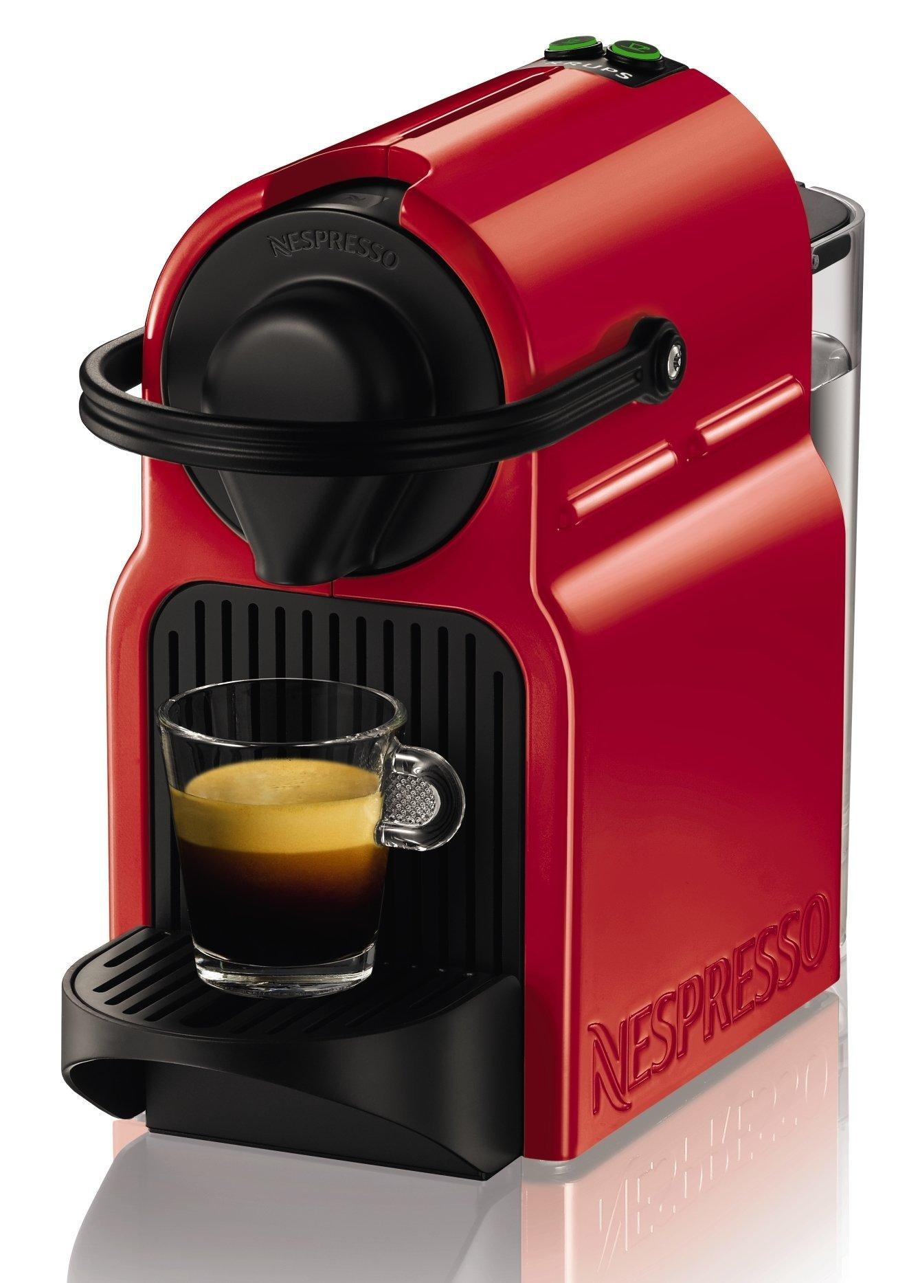 Krups Nespresso Inissia Rouge YY1531FD Independiente Máquina de café en cápsulas 0.7L Negro, Rojo - Cafetera (Independiente, Máquina de café en cápsulas, 0,7 L, Cápsula de café, 1200 W, Negro, Rojo): Amazon.es: Hogar