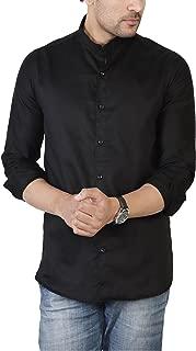 U TURN Men's Plain China Collar Shirt XXL
