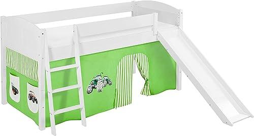 Lilokids Spielbett IDA 4106 Trecker Grün Beige - Teilbares Systemhochbett Weiß - mit Rutsche und Vorhang