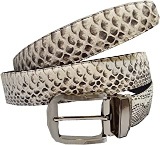 Authentic Snake Skin Men`s Genuine Python Belly Leather Pin Belt