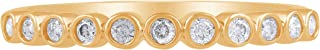 14K Gold 1/5 Carat Natural Diamond Band (H-I Color, I3 Clarity) Diamond Band for Women Diamond Jewelry Gifts for Women