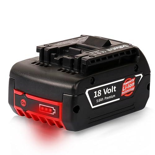 Batteriol 18V 5000mAh Li-ion Batterie de Replacement pour Bosch 2607336092 2607336236 2607336169 2607336170 2607336235 2607336170 2607336091 BAT609 BAT609G BAT618 BAT618G BAT610G BAT619G BAT619 1600A0