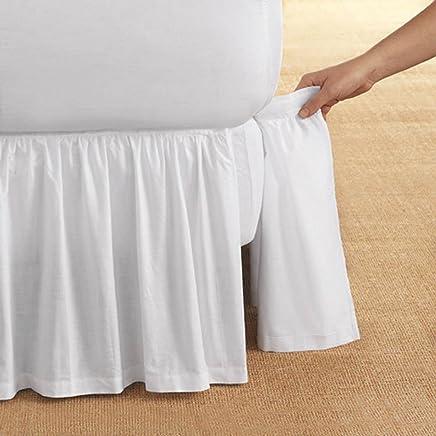 D. Kwitman & Son Cotton Gathered Detachable 14 Drop Bed Skirt,  Twin,  White