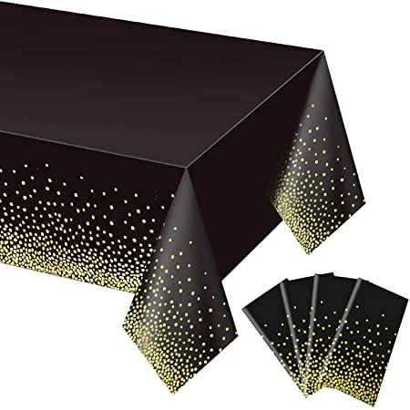 """4 Pack Black and Gold Tablecloth for Rectangle Tables, Plastic Disposable Dot Confetti Party Table Covers for Birthday for Thanksgiving Christmas Wedding, Anniversary, 54"""" x 108"""""""