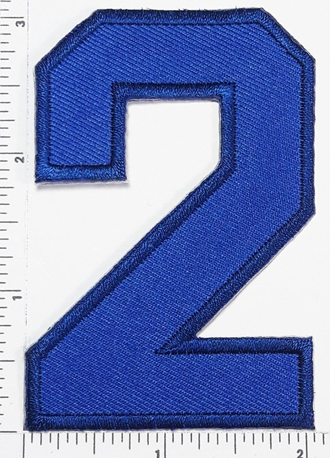 Blue Number 2 Patch Number Two Counting Logo Letter School Symbol Counting Logo Jacket T-Shirt Patch Iron on Patch