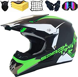 XIAOL Kinder Motorrad Helm Motorradhelm Enduro MTB Dirt Bike Mountainbike Helm Downhill Schutzhelm Fullface Helme mit Brille/Handschuhe/Maske/Motorrad netz/Korallenvlies Handtuch (M 54 55CM)