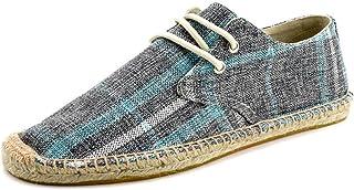 Hommes Espadrilles Mode Classique Bande À Carreaux À Lacets Chaussures Décontractées Plat Anti-Slip Mode Chaussures en Toi...