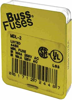 Bussmann MDL-2 Glass Fuse 2 Amp 250 Volt Time Delay (Slo-blo) (5 pack)