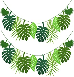PIXHOTUL 2 Pack Tropical Leaf Banner Hawaii Luau Party Leaves Garland Summer Beach Theme Wedding Birthday Party Decor