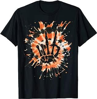 Orange Tie Dye Skeleton Hand Peace Sign - Hippie Halloween T-Shirt