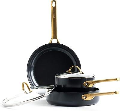 GreenPan Padova Reserve Healthy Ceramic Nonstick, Cookware Pots and Pans Set, 5 Piece, Black