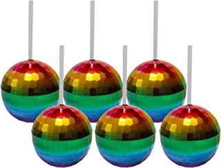 Six Rainbow Disco Ball Cups - Set of Six