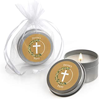 Personalized Elegant Cross - Custom Candle Tin Religious Party Favors - Custom Text - Set of 12