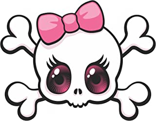 Vinyl Junkie Graphics Pink Bow Skull Sticker/Decal