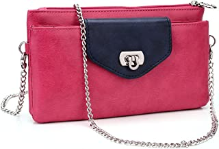 Kroo Clutch Wristlet Wallet with Rear Card Holders for Smartphones up to 5.1-Inch - Non-Retail Packaging - Magenta and Blue