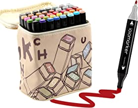 ioiomarker 40 Vibrant Colors Art Markers Set Double Tip Alcohol-Based Permanent Drawing Marker Pen with Leather Cartoon Carrying Bag for Kids/Adults/Profession Designer(Fashion Design)