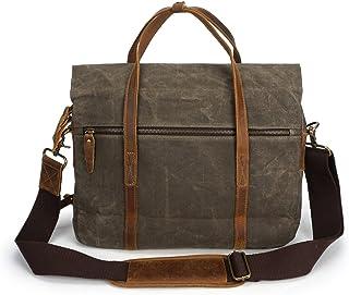 SGJFZD Men's Crossbody Oil Wax Canvas with Crazy Horse Paper Bag Vintage Shoulder Messenger Bag Zipper Pocket (Color : Bronze, Size : M)