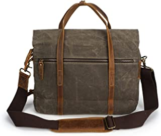 Men's Bag Men's Crossbody Oil Wax Canvas With Crazy Horse Paper Bag Vintage Shoulder Messenger Bag (Color : Bronze, Size : M)
