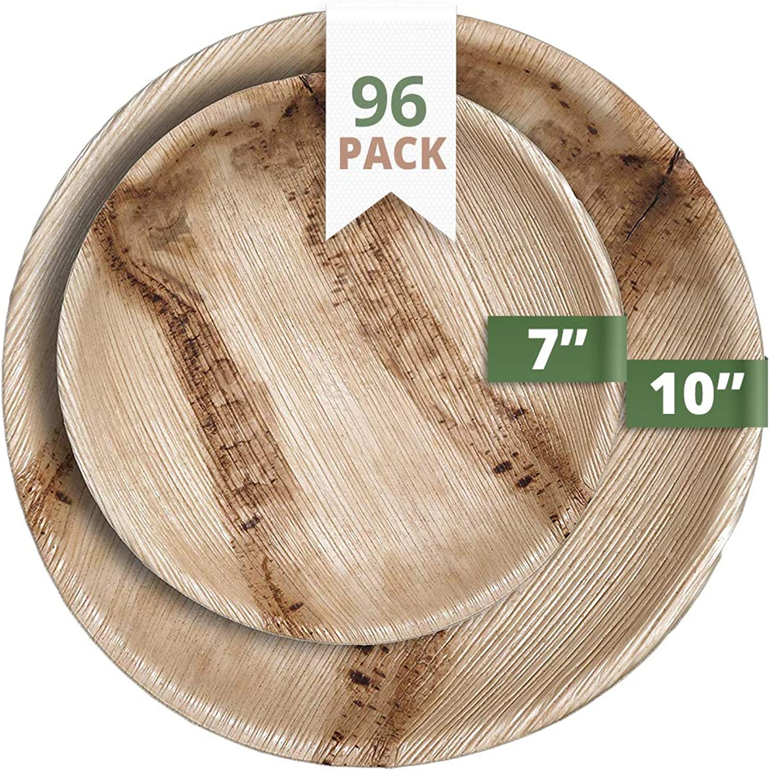 CaterEco Round Palm Leaf Plates Set   Pack of 96- (48) Dinner Plates and (48) Salad Plates   Ecofriendly Disposable Dinnerware   Heavy Duty Biodegradable Party Utensils for Wedding, Camping & More