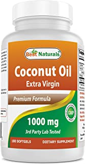 Sponsored Ad - Best Naturals Extra Virgin Coconut Oil 1000 mg Softgel, 180 Count