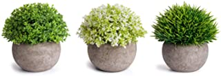 MoonLa Artificial Plants Potted Faux Fake Mini Plant Greenery Green Grass Flower Topiary..