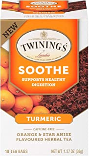 Twinings of London Daily Wellness Tea, Soothe Digestion Supporting Turmeric, Orange & Star Anise, Flavored Herbal Tea, 18 ...