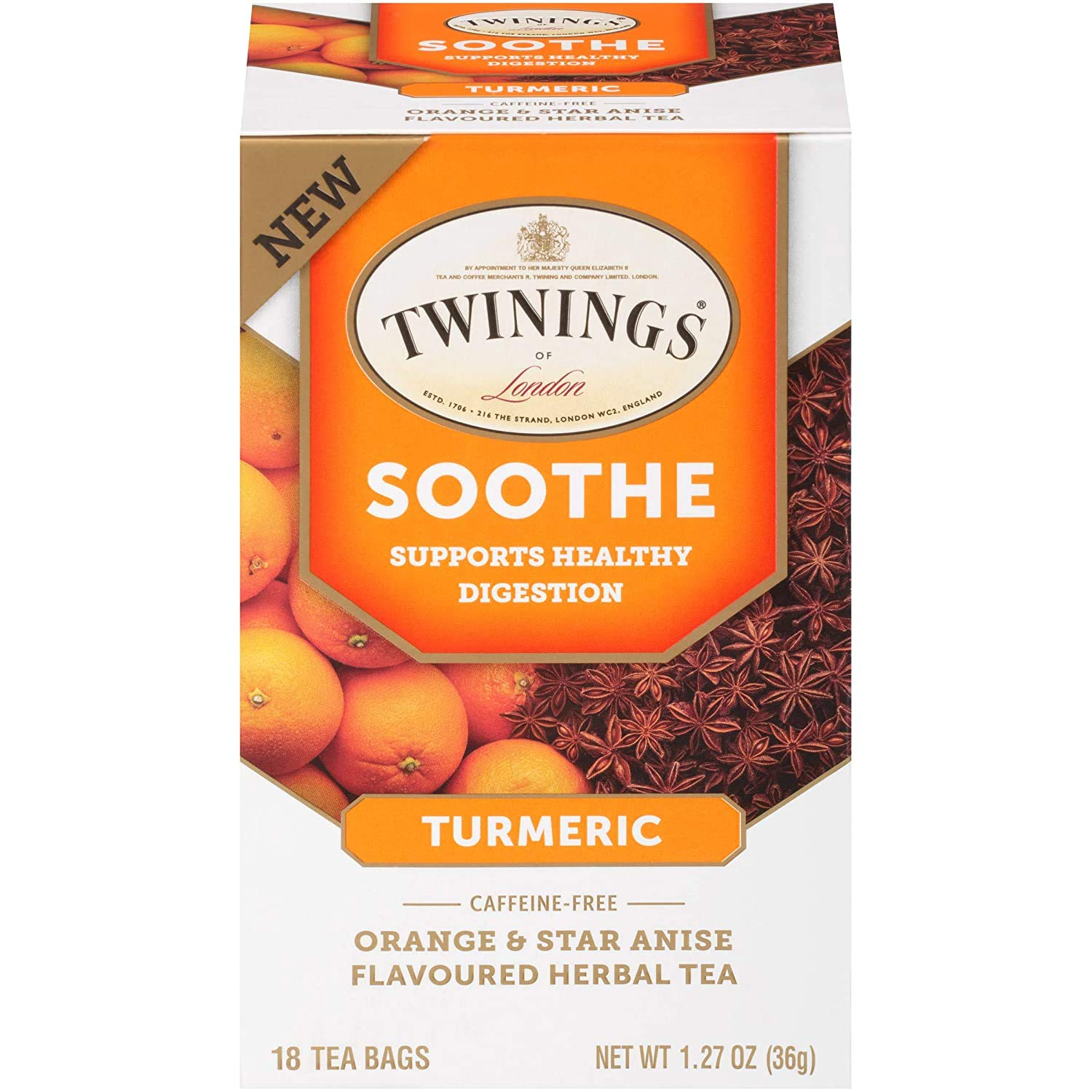 Twinings of London Daily Wellness Tea, Soothe Digestion Supporting Turmeric, Orange & Star Anise, Flavored Herbal Tea, 18 Count (Pack of 1)