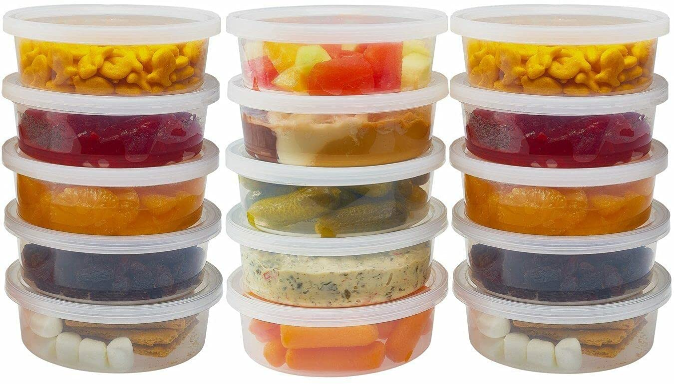 Food Storage Container 48 Set Deli Containers With Lids Reusable Plastic Small Soup Bowls Salad Cups Leakproof Safe BPA Free For freezer Dishwasher Microwave(8 oz)